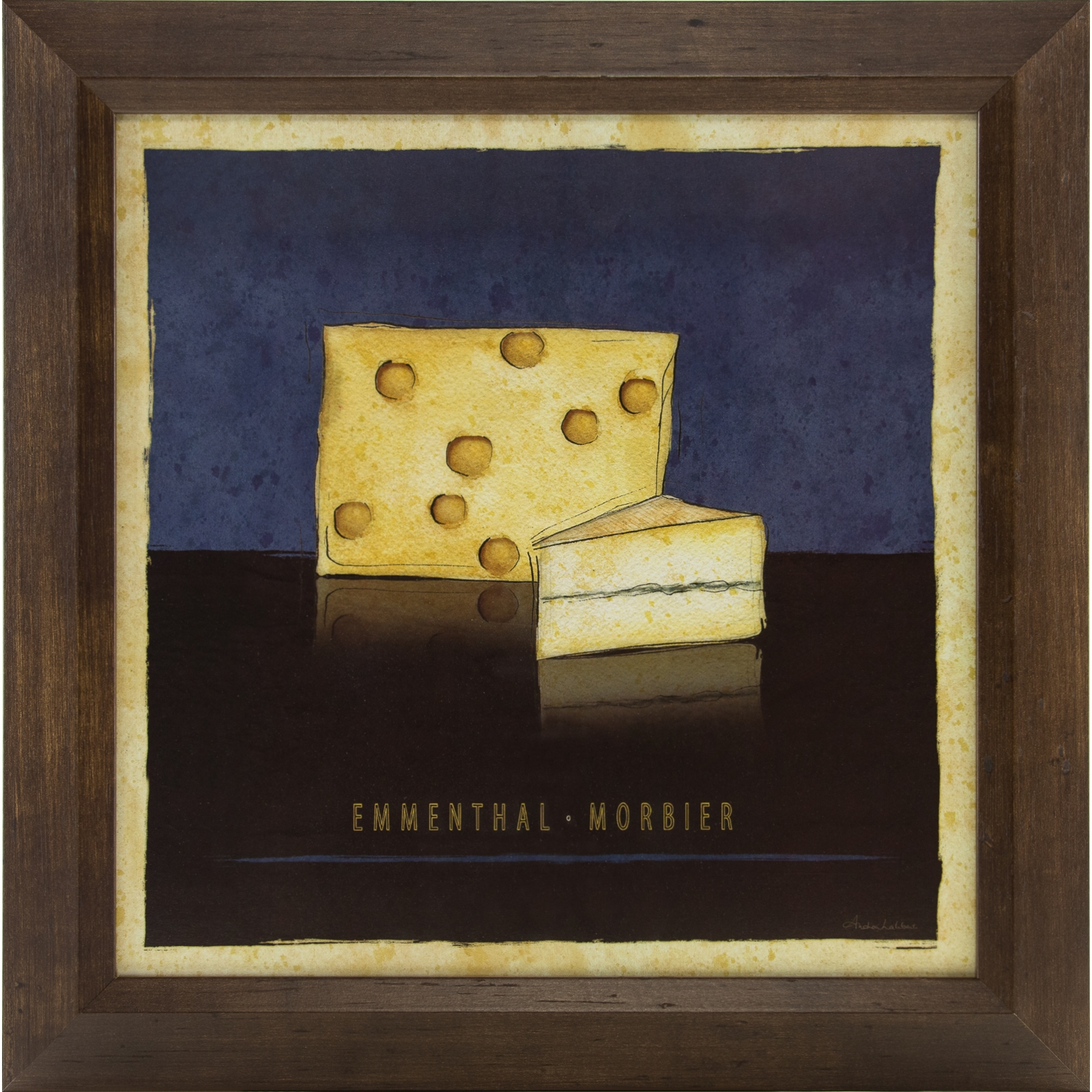 European cheese collection 12x12 framed kitchen wall art for Kitchen framed wall art