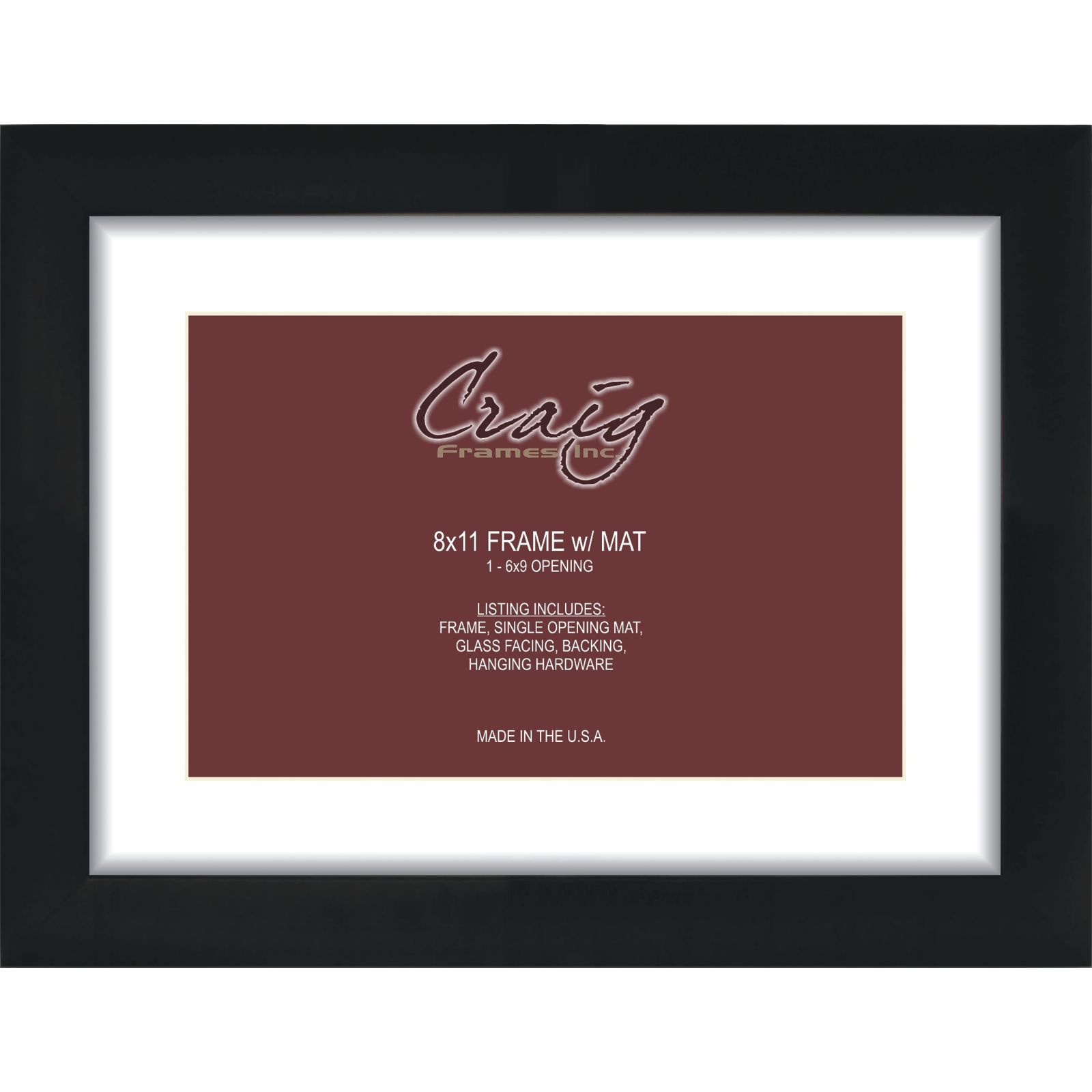 craig frames 8x11 black picture frame white mat with opening for 6x9 image