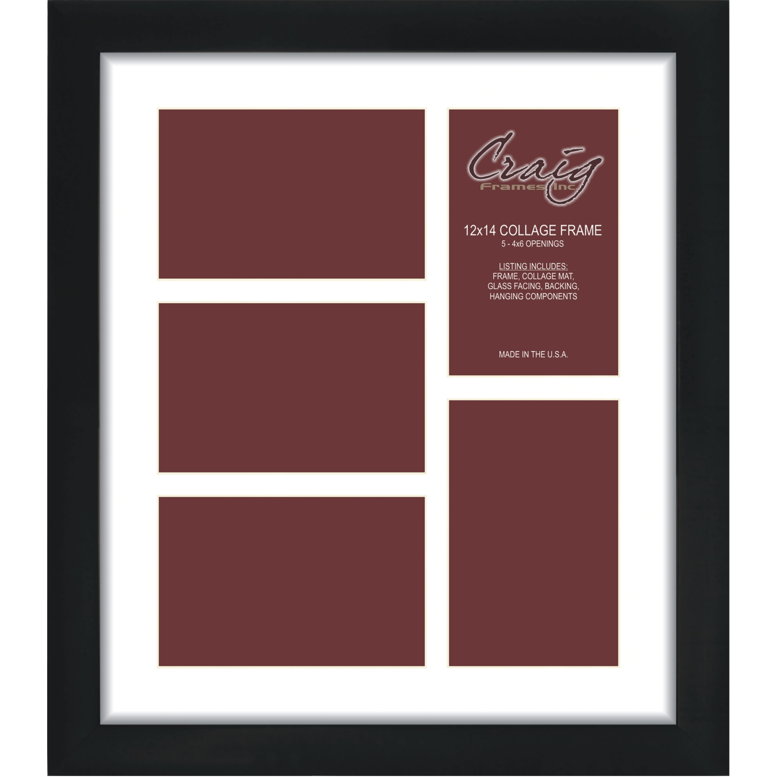 Craig Frames 1wb3bk 12x14 Black Collage Frame White Mat