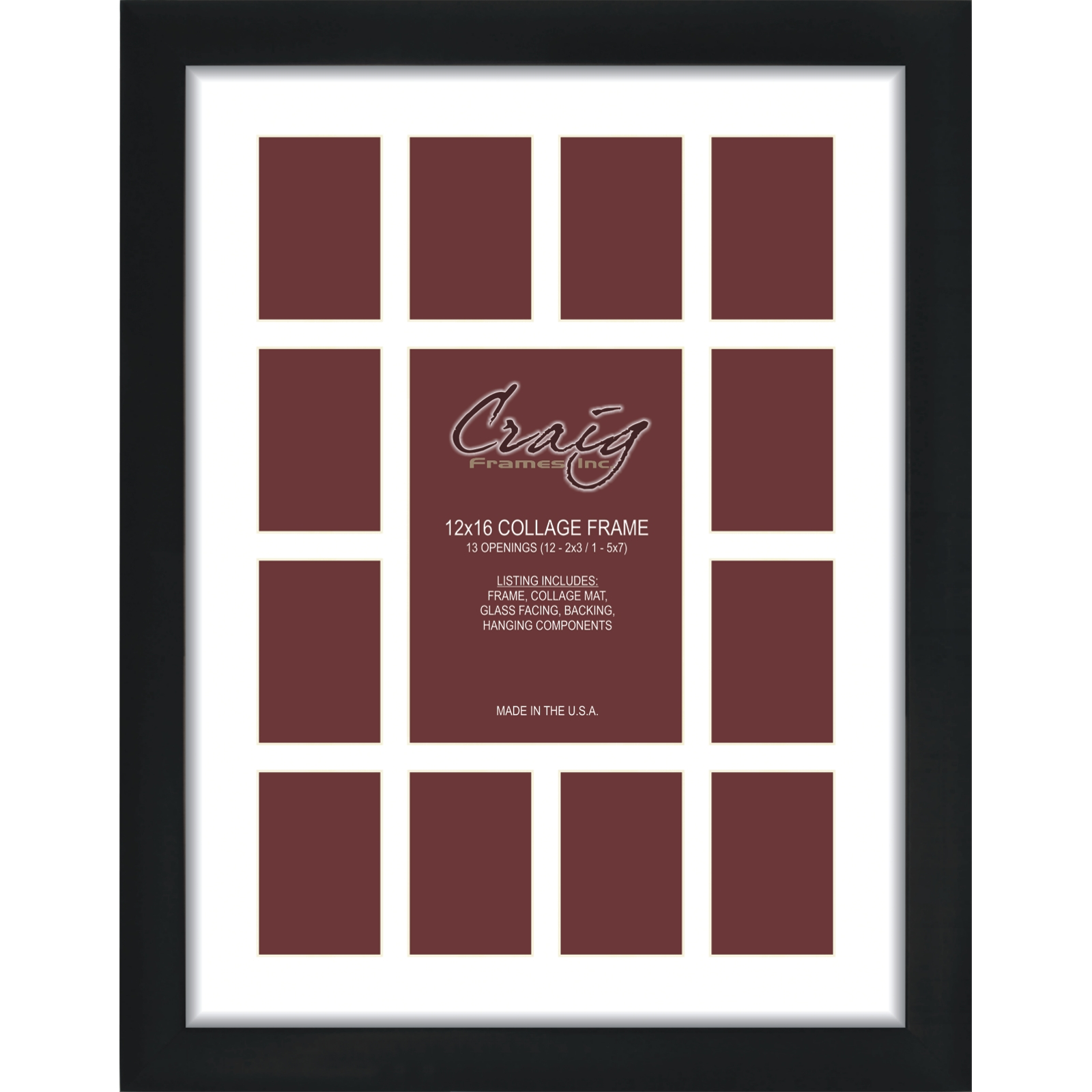 Craig Frames 1wb3bk 8x34 Black Collage Frame White Mat