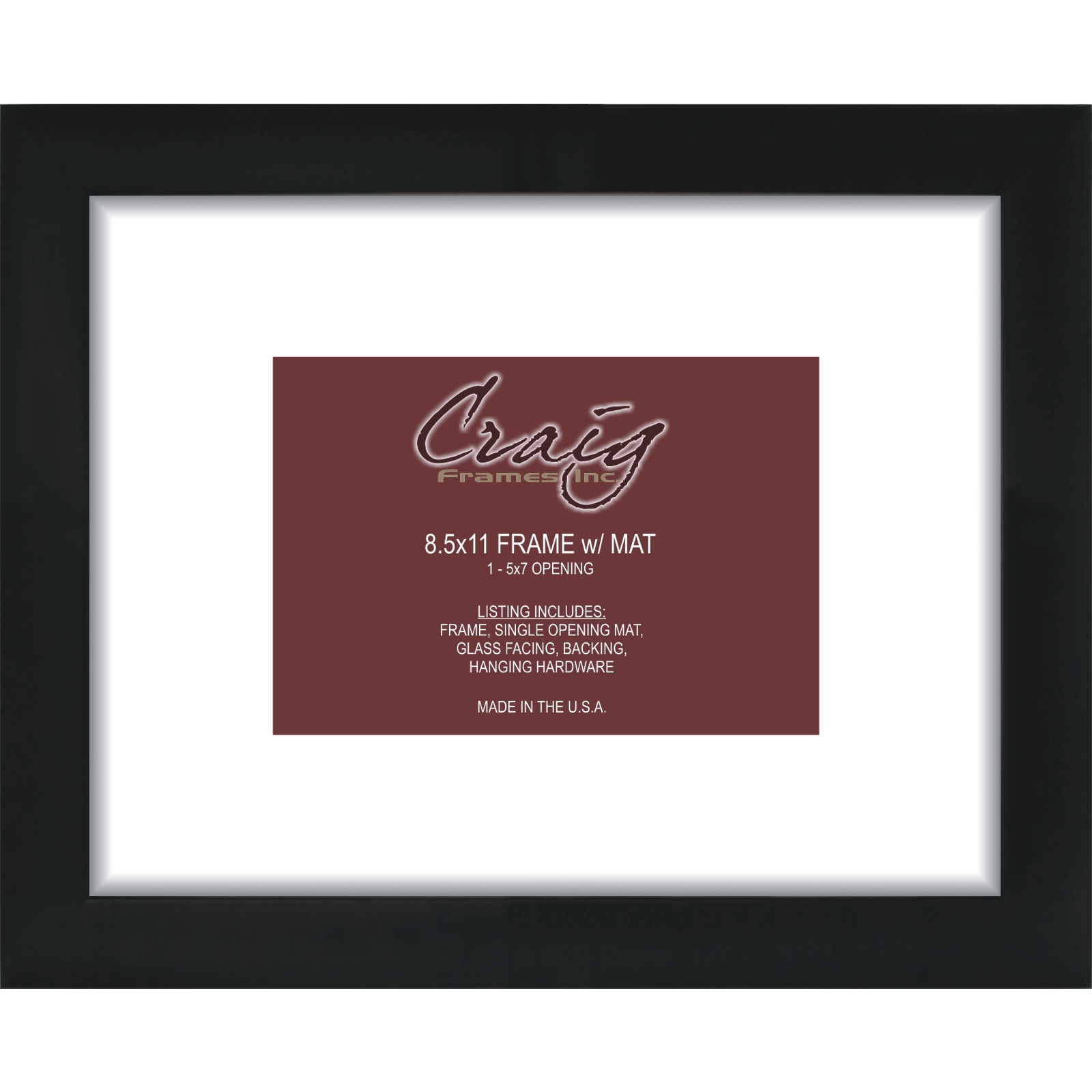 craig frames 8x11 black picture frame white mat with opening for 6x9 image ebay