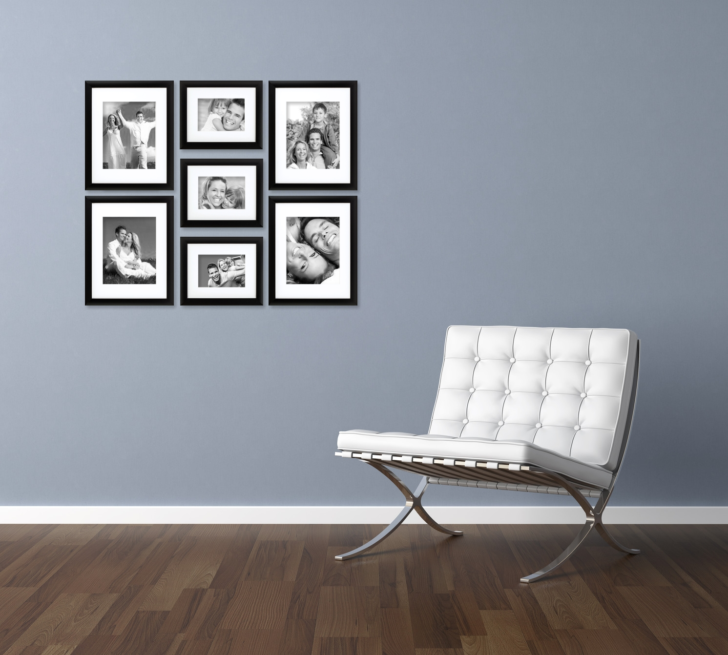 craig frames 7 piece black gallery wall frame set with glass white matting