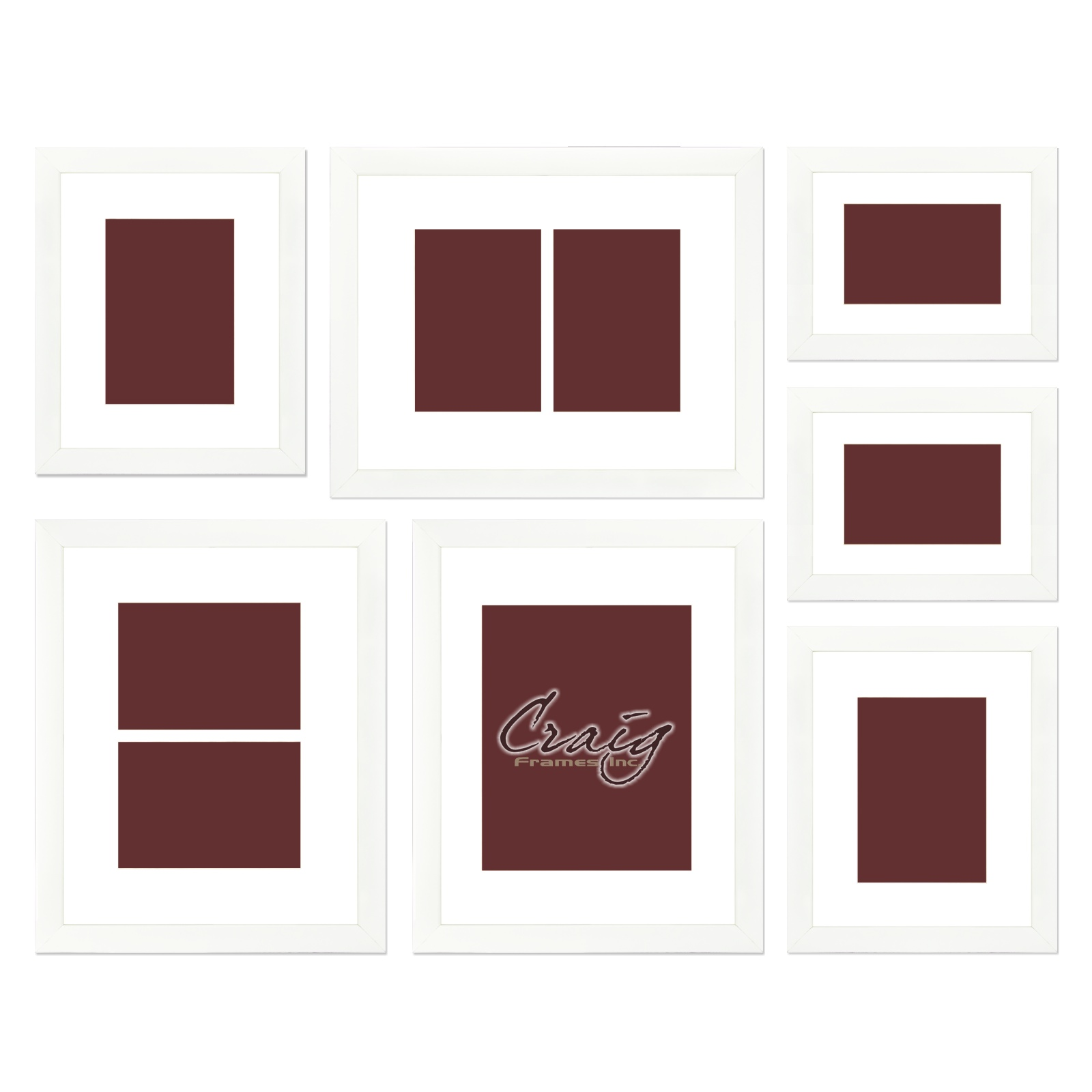 Craig Frames White Picture Frame 7 Piece Wall Set With