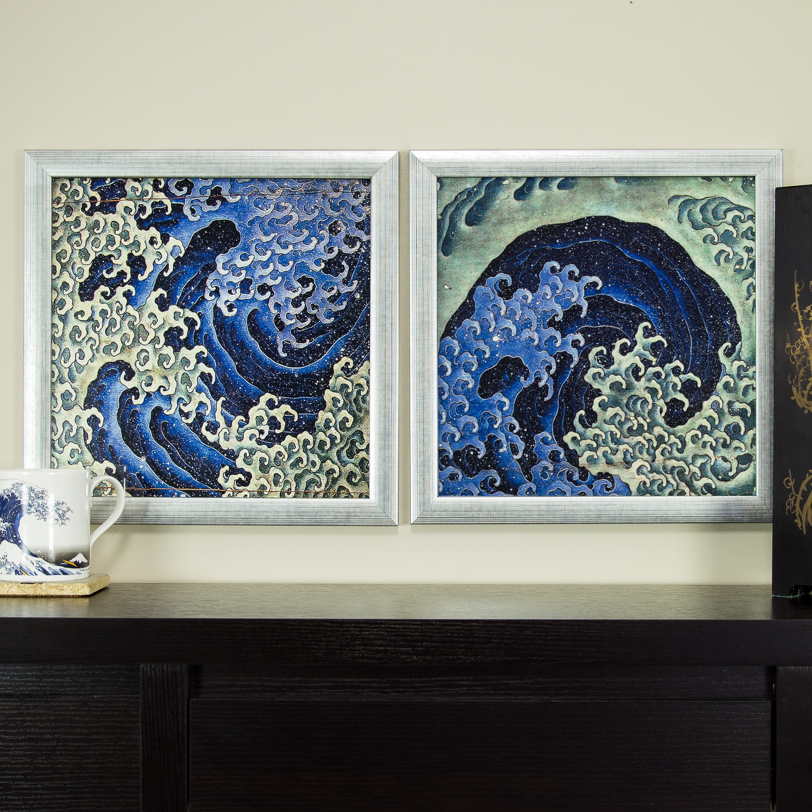 Masculine feminine wave 12x12 framed asian wall art set for Asian wall art
